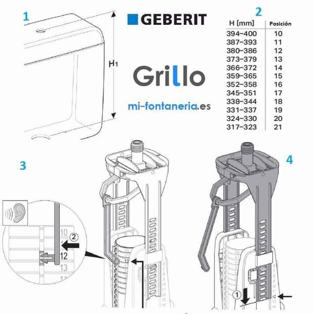 Pasos para regular la altura del Mecanismo Geberit Serie 240