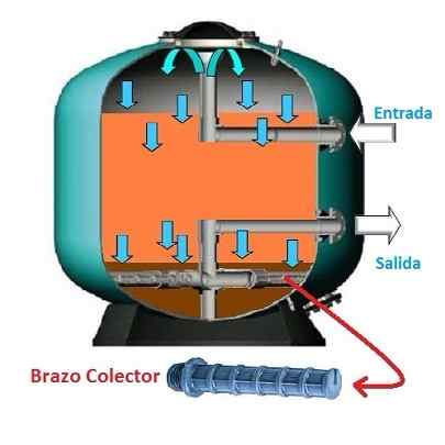 Esquema explicativo de la función del brazo colector en el filtro de la depuradora